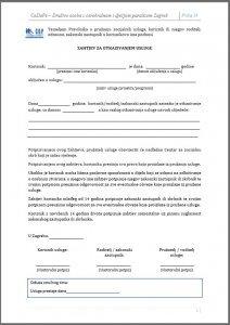 Zahtjev za otkazivanje socijalne usluge